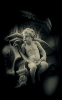 "Cupid, NYC, B&W, city, ornament, kitch, ""soft focus"", pictorial, statue"