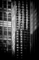 "Concrete, glass, steel, composite, ""soft focus"", pictorial, skyscraper, NYC, Manhattan, B&W, cityscape"